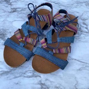 Minnetonka stripe denim print lace sandal flatshoe